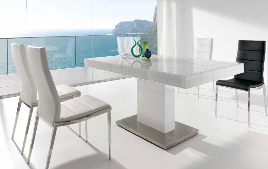 Mesa extensible de comedor mary nacher for Mesas de comedor de cristal y acero extensibles
