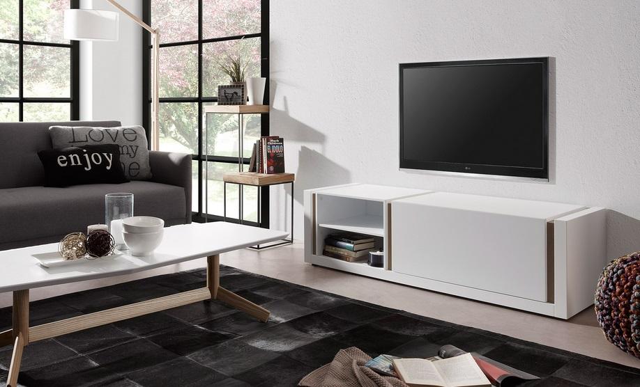 Mueble TV nordic blanco mate roble 140 (Código MTVNBMR140 )