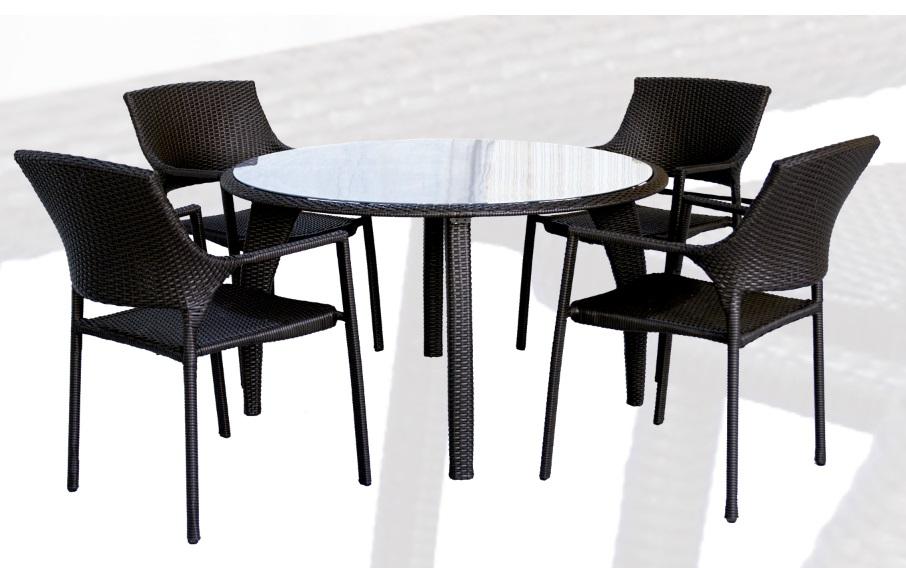 conjunto de terraza y jardin rattan chocolate onda mesa