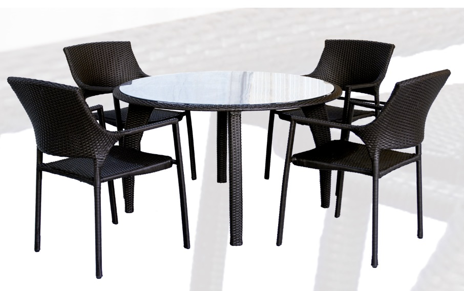 Conjunto de terraza y jardin rattan chocolate onda mesa for Conjunto terraza rattan