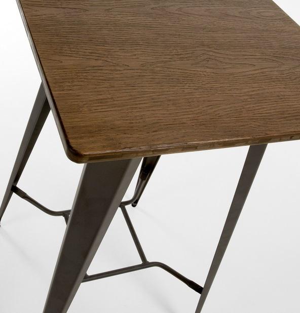 Conjunto tolix mesa alta taburetes metal grafito madera for Conjuntos de jardin con mesa alta