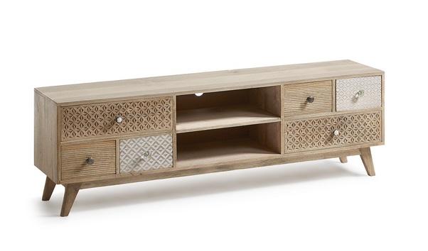 mueble tv madera natural vintage marrakech
