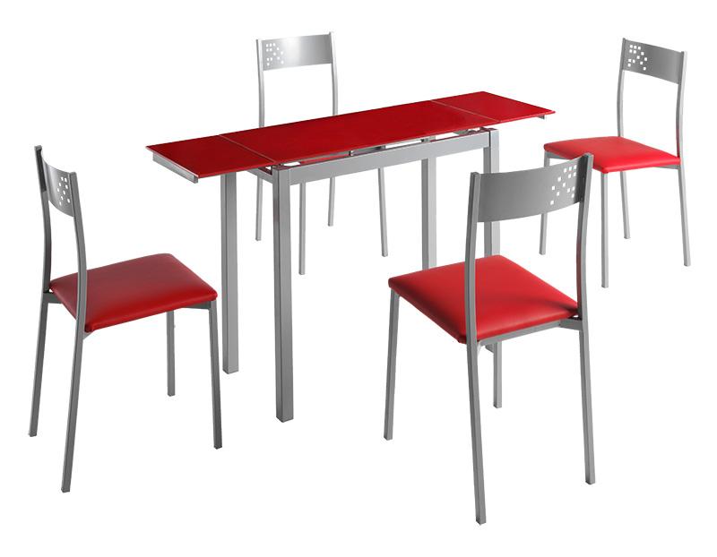 Conjunto de cocina mesa extensible Lisboa cristal rojo 4 sillas ...