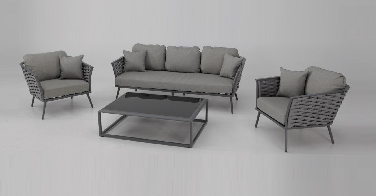 Set sofas terraza aluminio cuerda gris mediterraneo www for Aluminio productos de fundicion muebles de jardin
