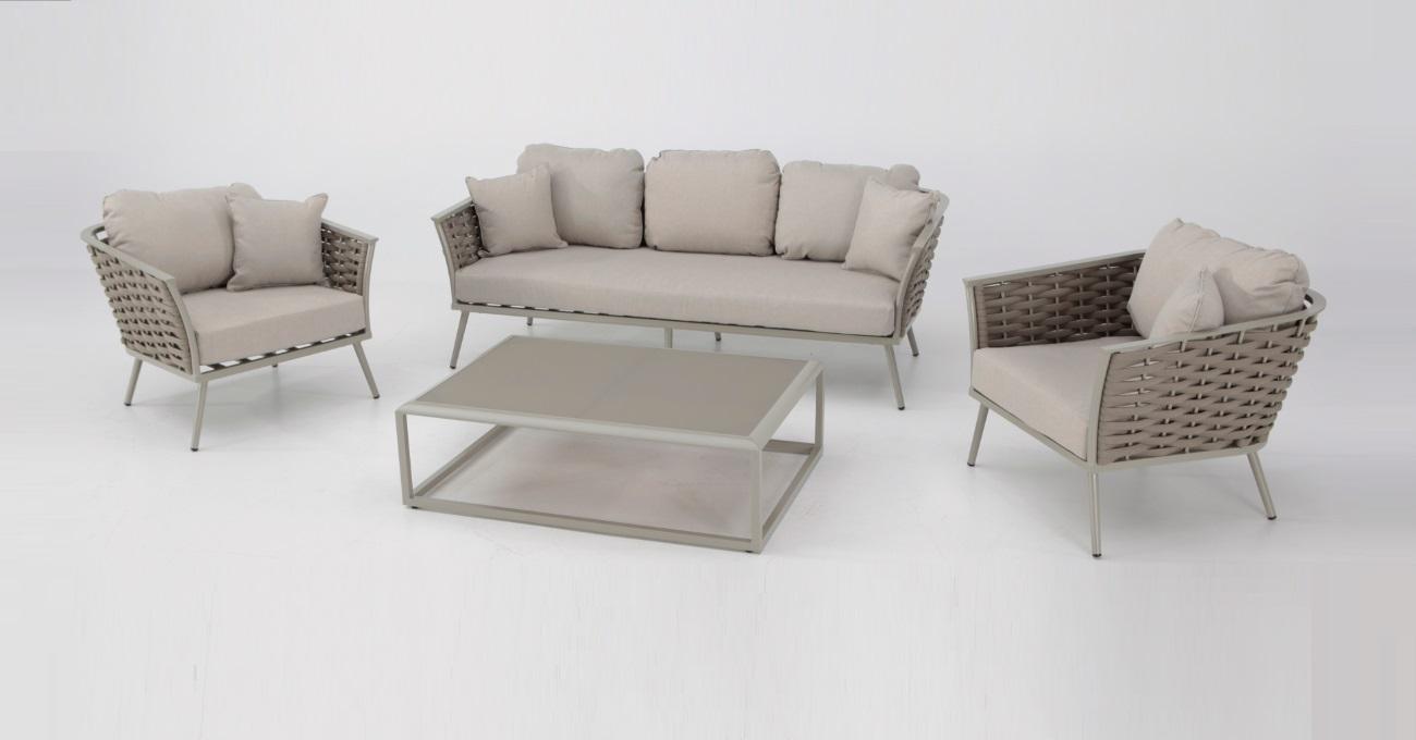Set sofas terraza aluminio cuerda beige medas www for Terrazas con sofas