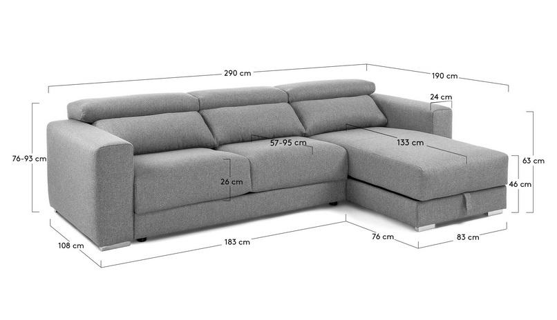Sofa binari deslizante 3 plazas chaise longue tela gris - Medidas de sofas chaise longue ...