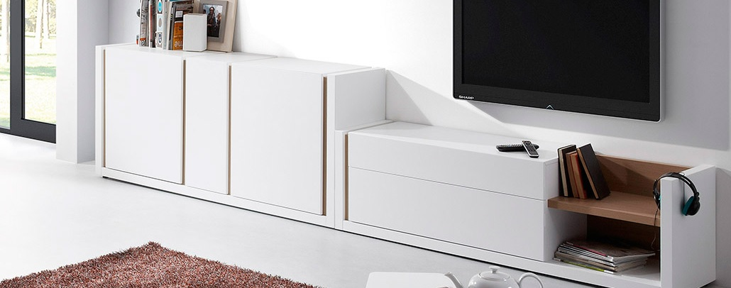Mueble tv nordic blanco mate roble for Mueble blanco y roble