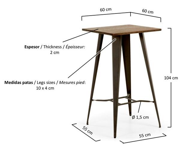 Mesa alta de bar estilo industrial tolix metal grafito for Mesa alta madera bar