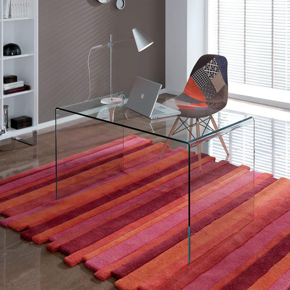 Mesa cristal curvado dt 07 dugar home - Mesa escritorio cristal ...