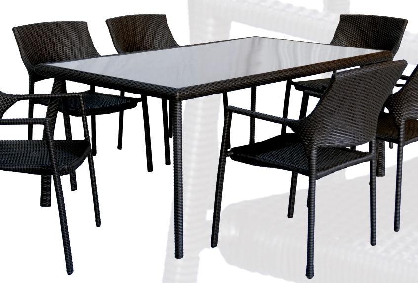 Conjunto de terraza y jardin rattan chocolate onda mesa for Mesa terraza rattan