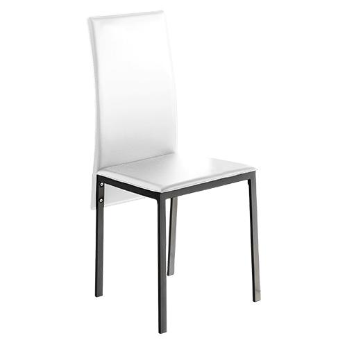 4 uds silla de cocina polipiel blanco lyon www for Sillas cocina polipiel