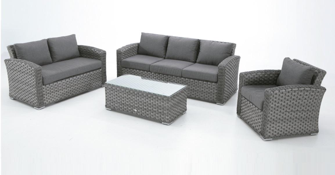 Sofa rattan gris lura una plaza for Sofa de una plaza