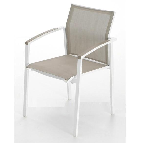 Silla terraza aluminio blanco moka laos for Sillas de aluminio