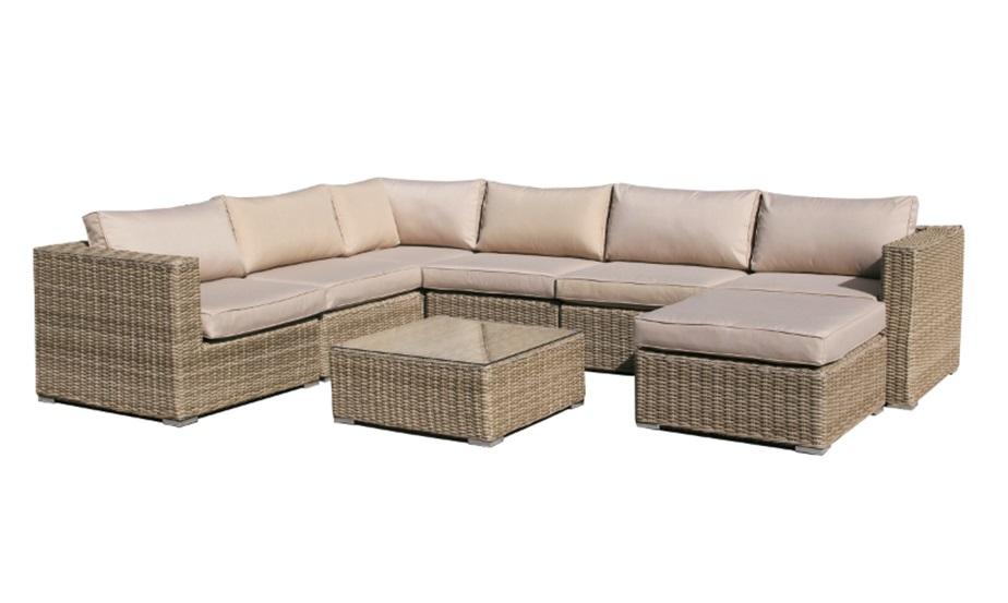 Sofa modular lounge rattan color natural kaui www for Sofa modular jardin