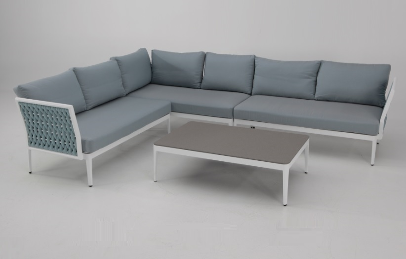 Sofa terraza rinconera basel aluminio blanco cuerda azul for Sofa rinconera jardin
