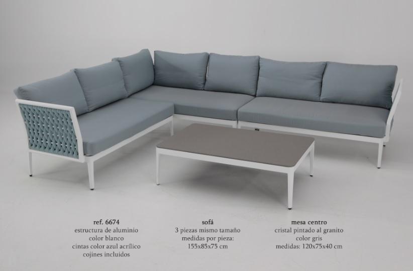 Sofa terraza rinconera basel aluminio blanco cuerda azul for Sofa exterior aluminio blanco