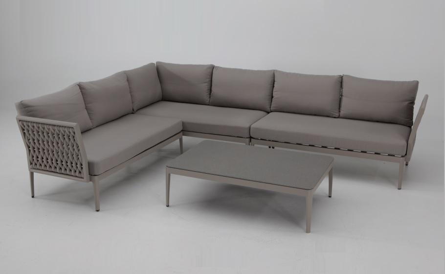 Sofa terraza rinconera luzern aluminio taupe cuerda beige for Sofa rinconera jardin