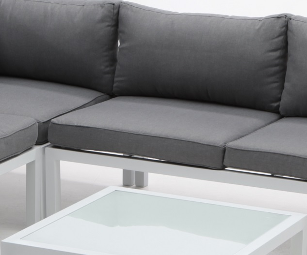 Modular de terraza creta aluminio blanco cojines para for Sofa exterior aluminio blanco