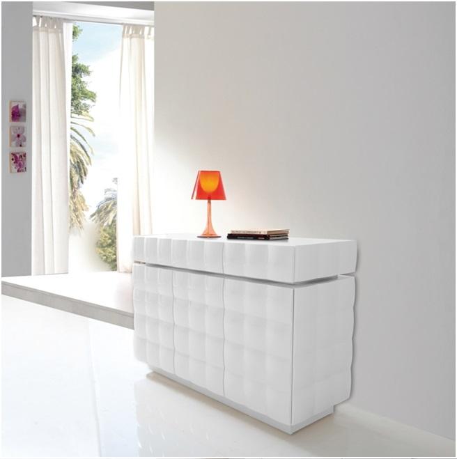 Aparador alto blanco alto brillo W-749 dugar home - www.regaldekor.com