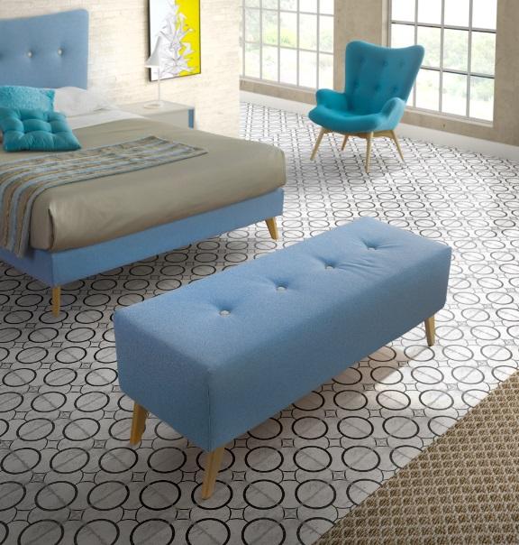 Banco pie de cama tapizado vintage nordic - Banco tapizado ...