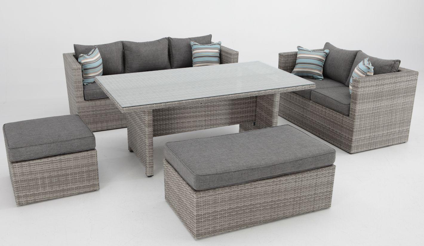 Set sofas de terraza con mesa de comedor rattan carmel for Conjunto sofa terraza
