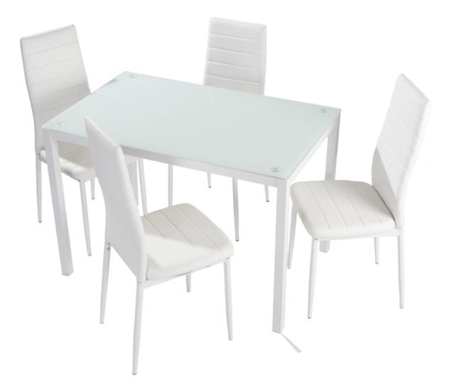 4 uds silla de cocina polipiel blanco nantes www for Sillas cocina polipiel