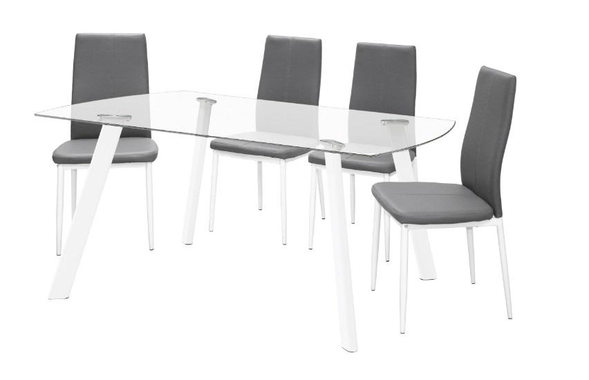 4 uds silla de cocina polipiel gris marle for Sillas cocina polipiel