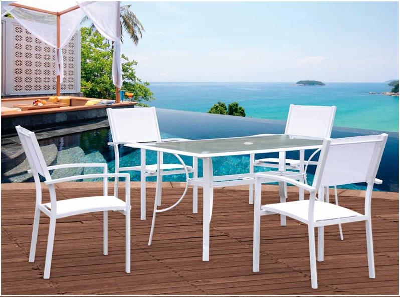 Conjunto terraza y jardin aluminio blanco ibiza www for Conjunto jardin aluminio