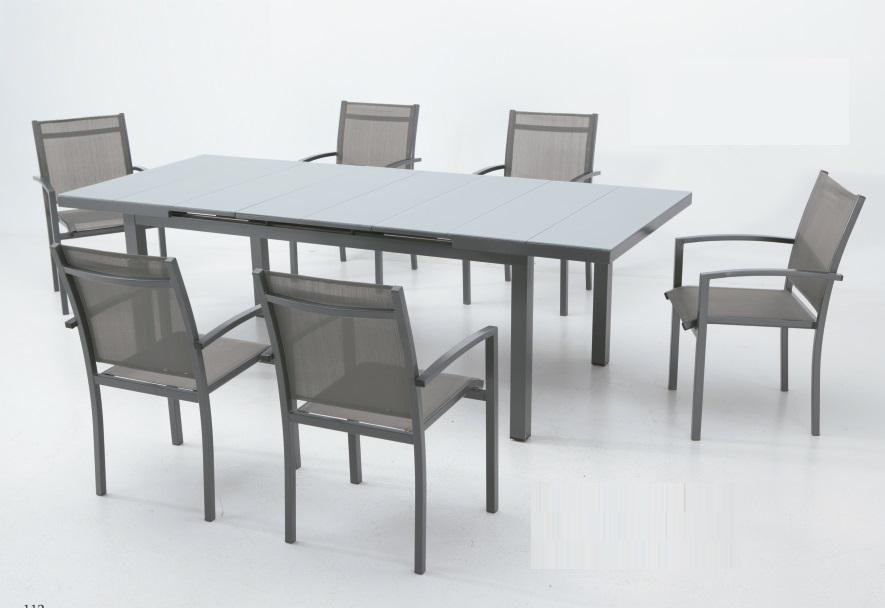 Conjunto terraza mesa extensible aluminio gris slat www for Conjunto terraza