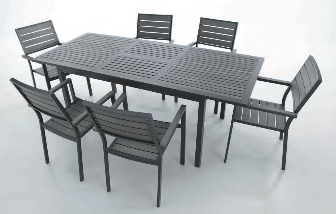 mesa de terraza extensible lamas imitacion madera kinder