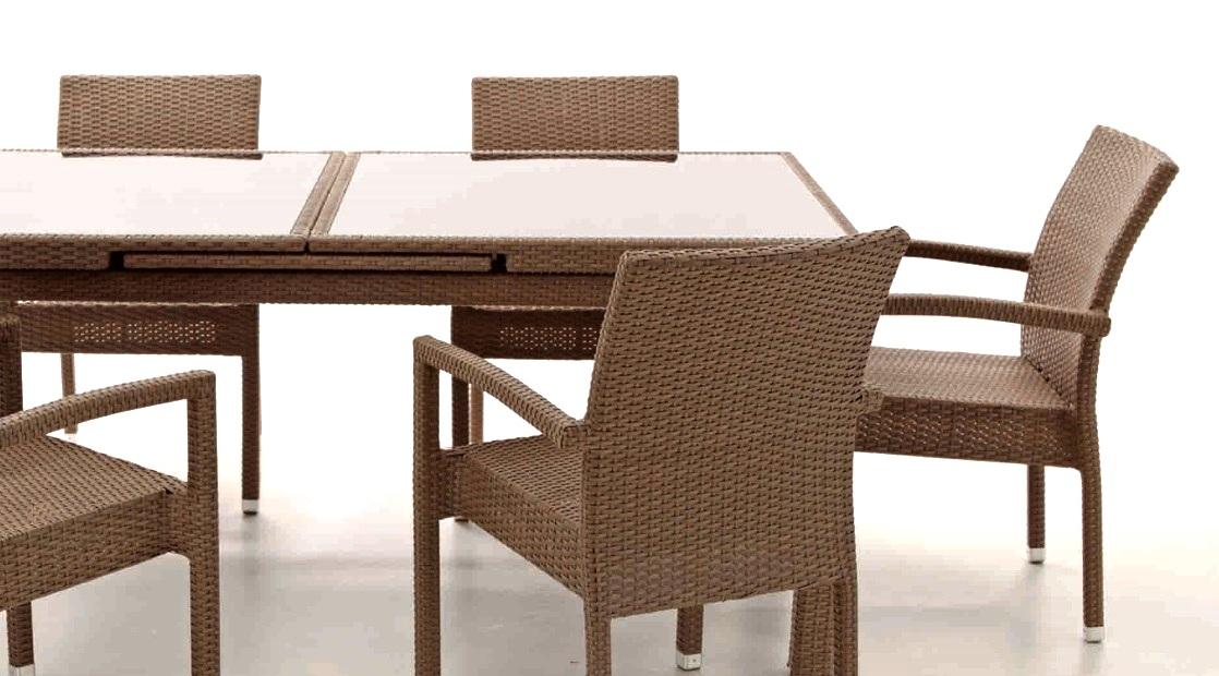 mesa extensible de rattan crema kity