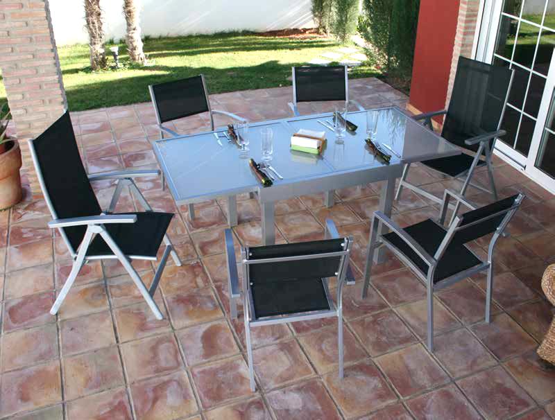 Conjunto terraza jardin alumino mesa extensible calpe for Conjuntos de jardin en aluminio