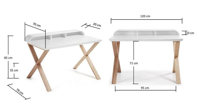 Mesa escritorio nordic blanco mate fresno 120x70 www for Medidas mesa escritorio