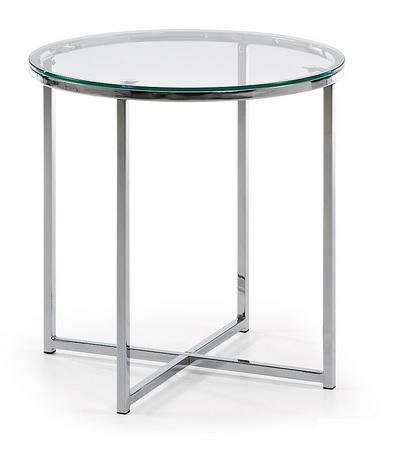 Mesa auxiliar redonda acero cristal for Mesa auxiliar redonda ikea