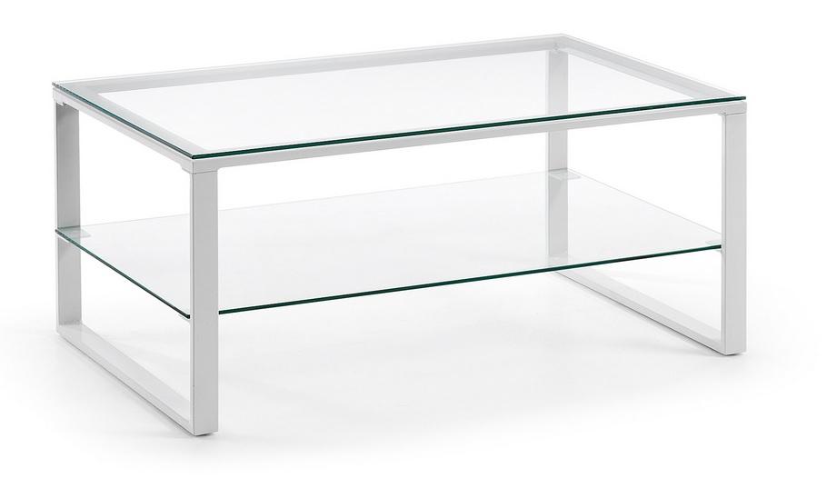 Mesa centro blanco cristal 90x55 - Mesa cristal blanco ...