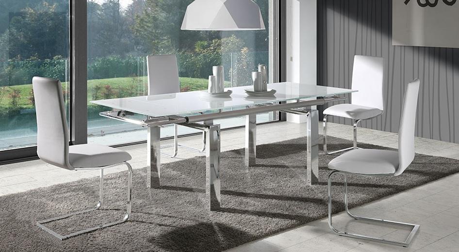 Mesa de comedor cromada blanco venecia for Vidrio para mesa de comedor precio
