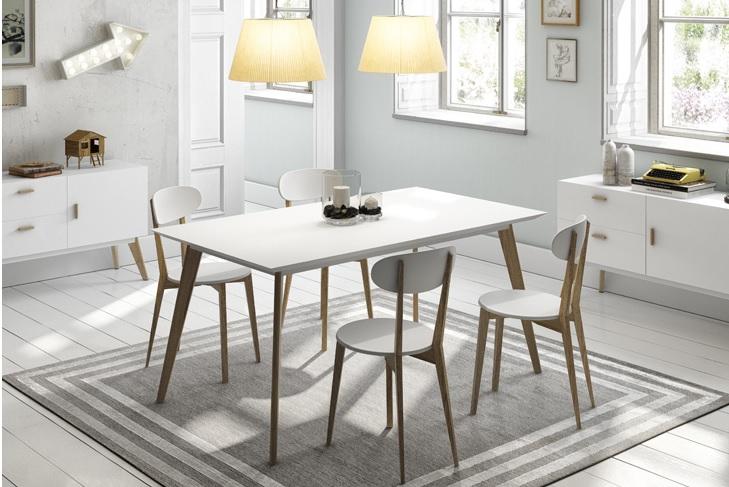 Mesa de comedor nordica vintage blanca madera de roble ...