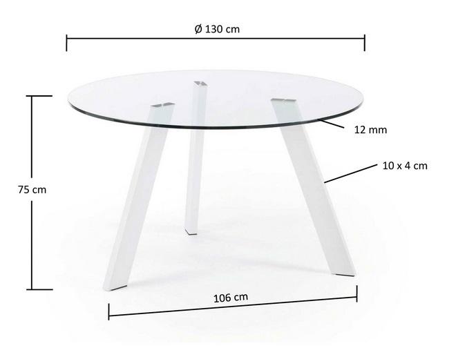 Mesa de comedor redonda cristal pies acero blanco 130 - Mesa comedor redonda cristal ...