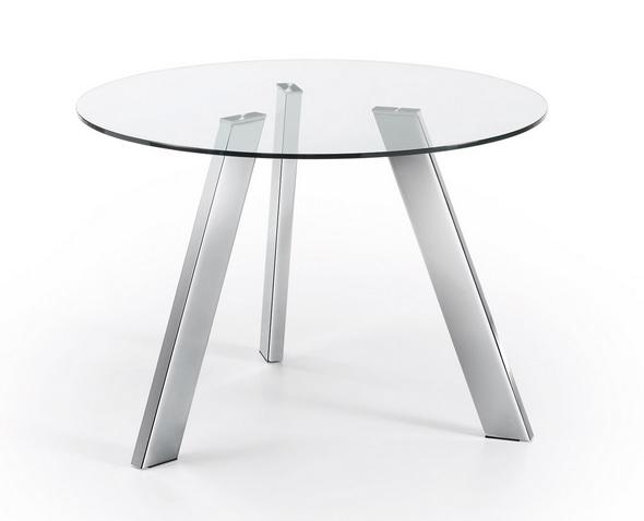 Mesa de comedor redonda cristal pies acero inox 110 www for Mesa cristal acero