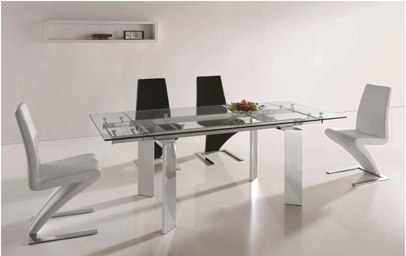Mesa de comedor extensible cristal cromada perseo www - Mesa comedor cristal y acero ...