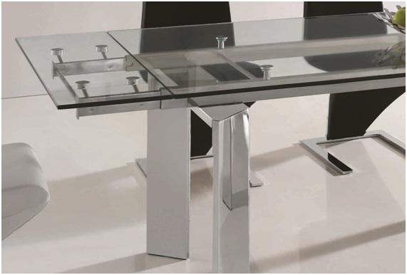 Mesa de comedor extensible cristal cromada perseo www for Mesas de cristal extensibles para comedor