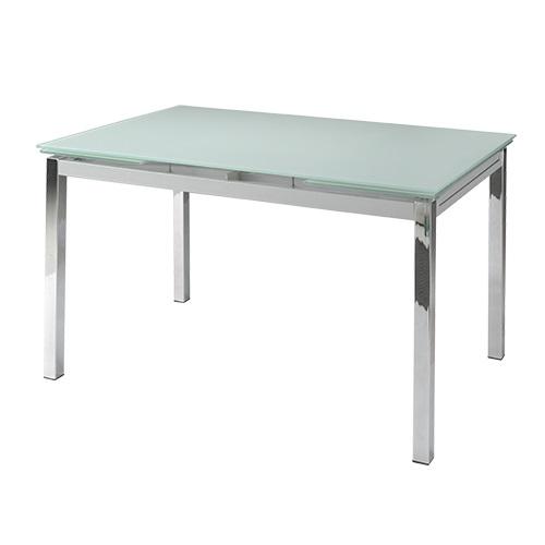 Mesa extensible cristal blanco patas cromadas 140 200x90 for Mesa cristal 140 x 90