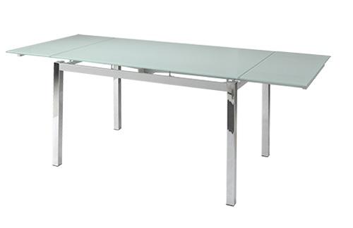 Mesa extensible cristal blanco patas cromadas 140 200x90 for Mesa cocina cristal blanco