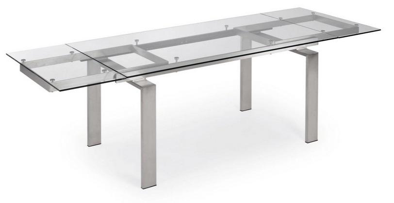Mesa de comedor extensible acero y cristal square - Mesas acero y cristal ...