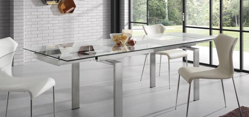 Mesa de comedor extensible acero y cristal square www - Mesas de comedor de cristal y acero ...