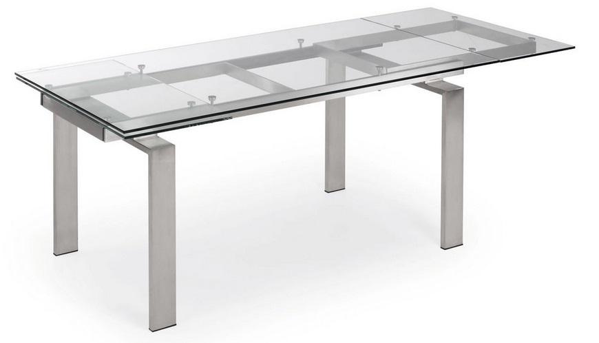 Mesa de comedor extensible acero y cristal square www for Mesas de comedor de cristal y acero extensibles