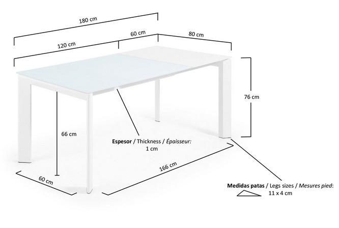 Mesa de comedor extensible aluminio blanco cristal blanco for Mesa 80x80 extensible a 120