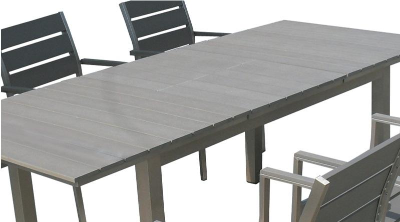 Mesa de terraza extensible aluminio lamas poliwood ohio - Mesas de jardin de aluminio ...