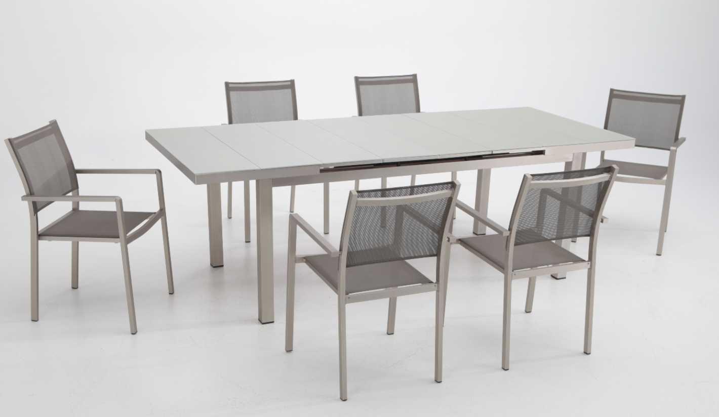Conjunto de terraza y jardin aluminio anodizado karibu for Mesas y sillas para terraza