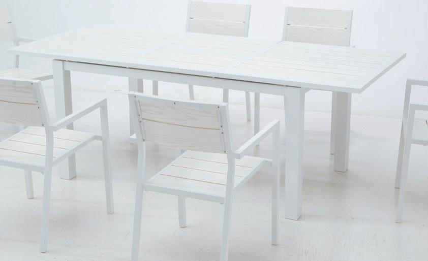 Conjunto de terraza y jardin aluminio lamas blanco bengasi for Conjunto jardin aluminio